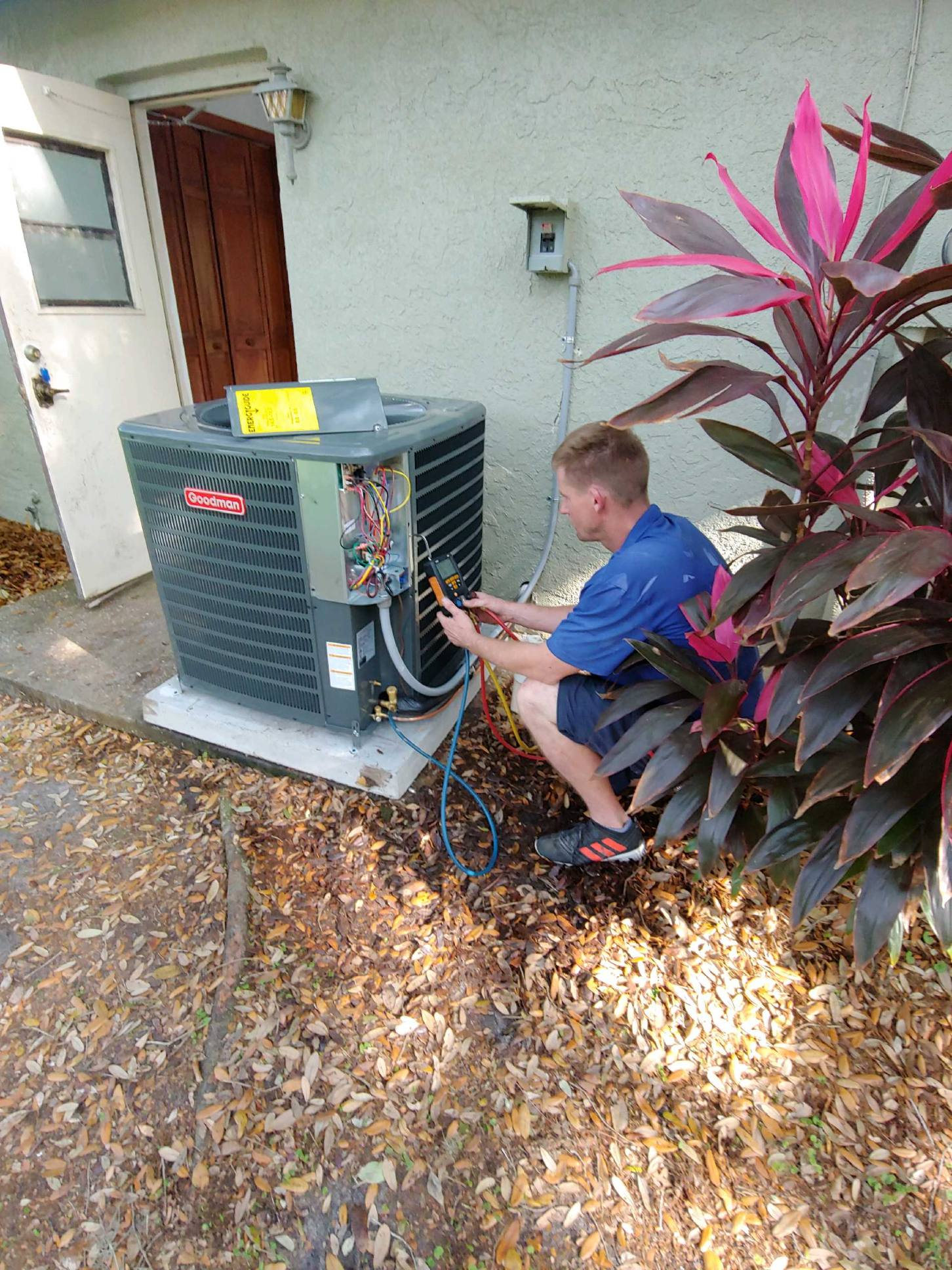 Airprompt Tech checking pressures of newly installed system