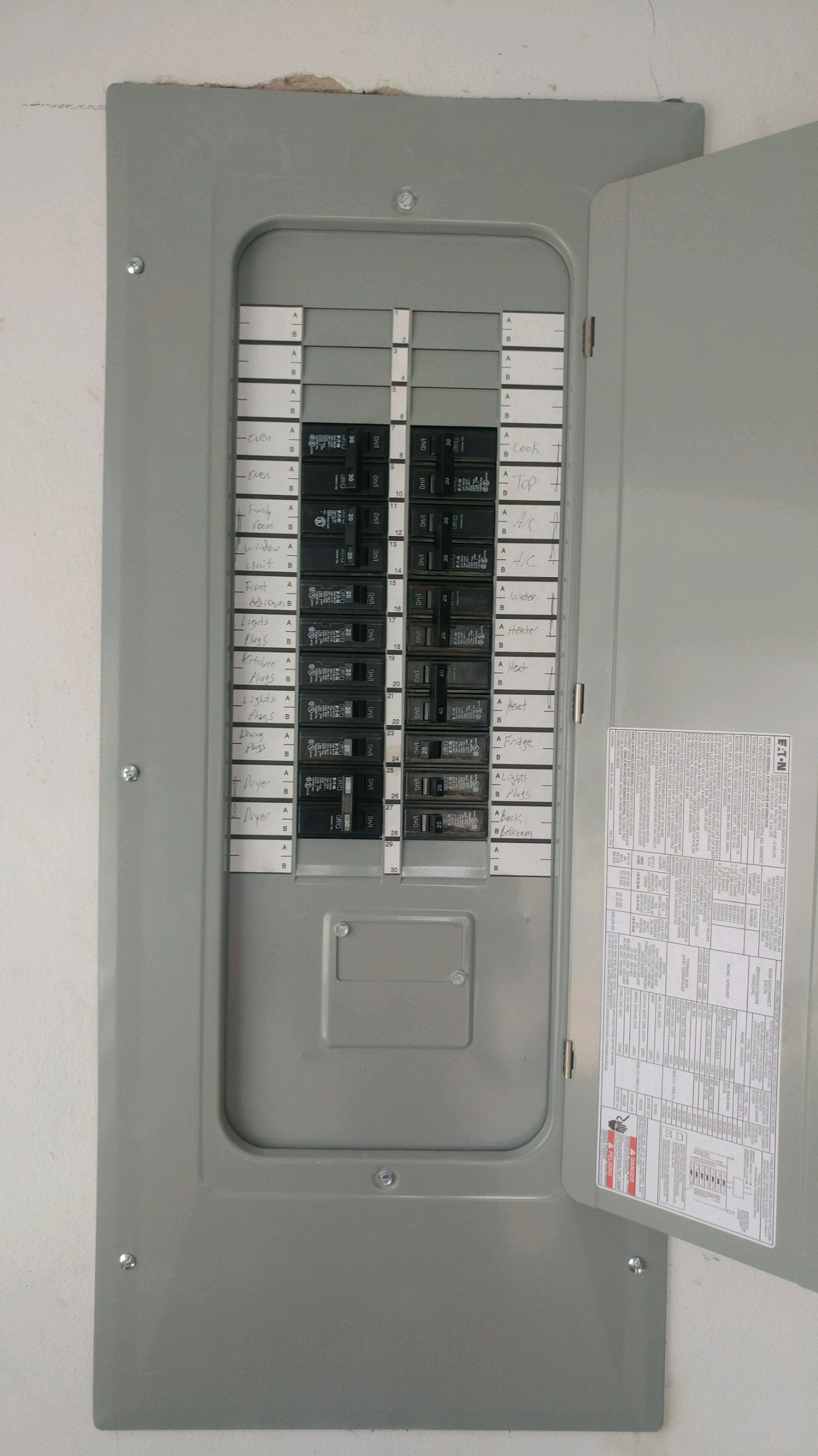 New electrical panel installed by airprompt electric